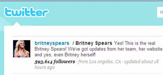 Britney Spears is popular on Twitter
